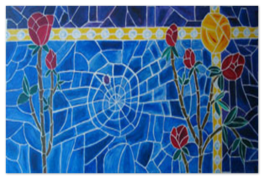 art prints - Stained Glass Window - Roses, Sunlight & Web by Shamera Kane