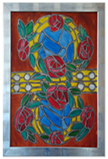 art prints -  Red Roses & Golden Rings Canvas 1 - Stained Glass Window by Shamera Kane