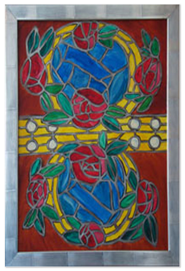 art prints - Red Roses & Golden Rings Canvas 2 - Stained Glass Window    by Shamera Kane