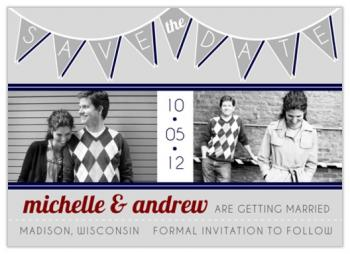 1950s Pennant Banner Save the Date Cards