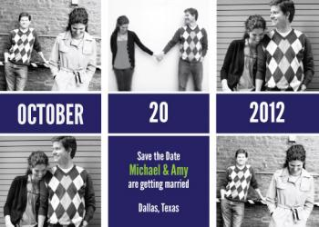 Five Photo  Save the Date Cards