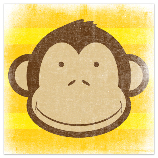 art prints - Stripey Monkey by Jill Zielinski Designs