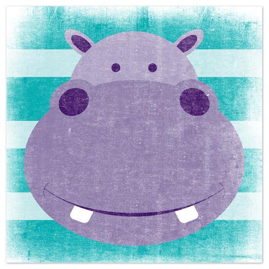 art prints - Stripey Hippo by Jill Zielinski Designs