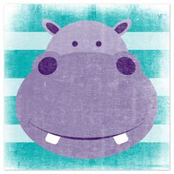 Stripey Hippo Art Prints