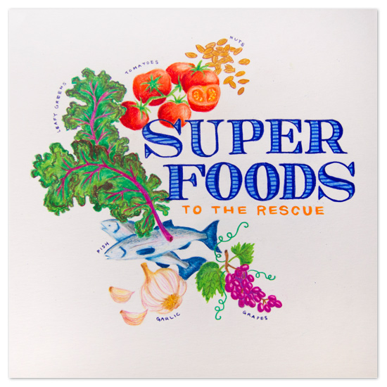 art prints - super foods - print by angel b lee