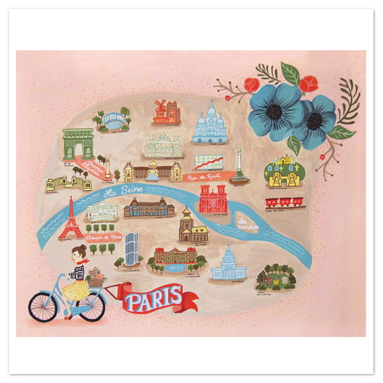 art prints - map of paris by angel b lee