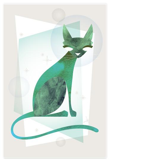 art prints - Mid Century Feline by 2birdstone