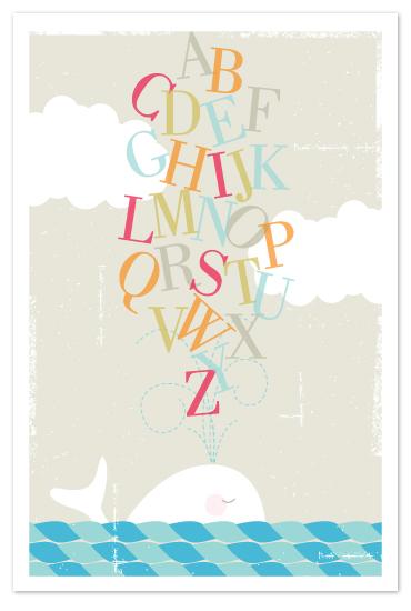 art prints - Alphabet Whale by Kristie Kern