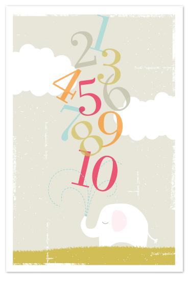 art prints - Numbers Elephant by Kristie Kern