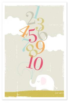 Numbers Elephant Art Prints