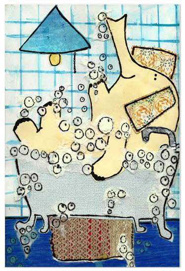 art prints - Elephant taking a Bubble Bath by erin mcgill