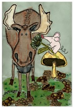 Moose & Mouse in forest Art Prints