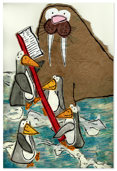 art prints - Penguins Brushing Walrus Husks by erin mcgill