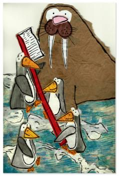 Penguins Brushing Walrus Husks Art Prints