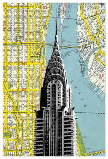 art prints - Chrysler Building with NYC Map Background by Christopher Degiso