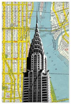 Chrysler Building with NYC Map Background
