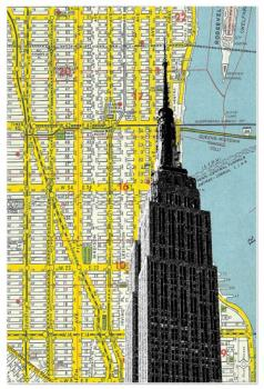 Empire State Building with NYC Map Background