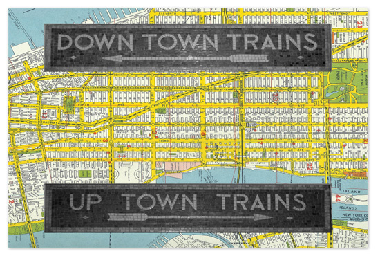 art prints - Uptown Downtown Subway Tiles with NYC street map background by Christopher Degiso
