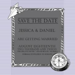 beach themed save the date card