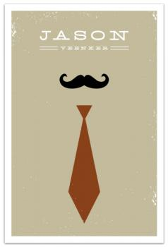 Mr. Moustache and Tie Art Prints