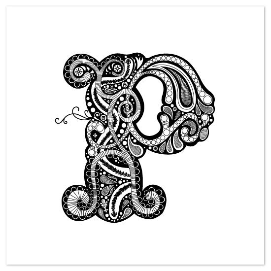 art prints - Whimsical P by Jennifer Pace Duran
