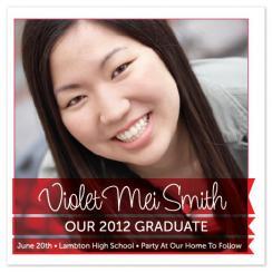 Stunning Red Banner Graduation Announcement