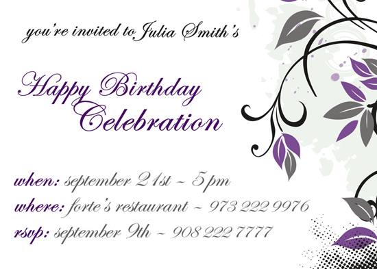 party invitations - Purple Floral by CML Designs