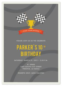 Start Your Engines Party Invitations