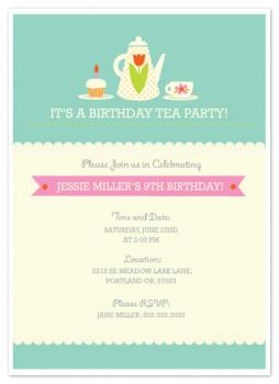Tea Time Party Party Invitations