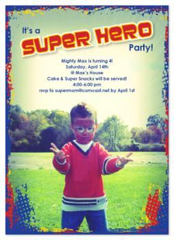 super hero birthday Party Invitations
