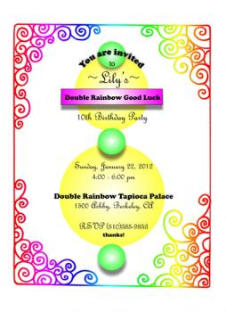 Double Rainbow Good Luck Party Invitations