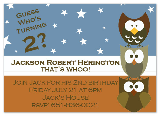 party invitations - Whooo's Birthday by My Sweetie Pie