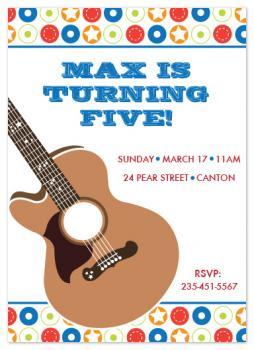 Rock & Roll Birthday Party Invitations