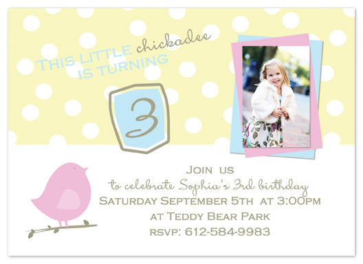 party invitations - Chickadee by My Sweetie Pie