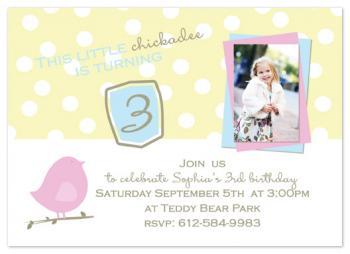 Chickadee Party Invitations