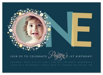 One Blossom Wreath Party Invitations