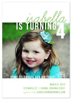 Girl Turning Four Party Invitations