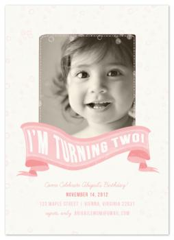 Girl Turning Two Party Invitations