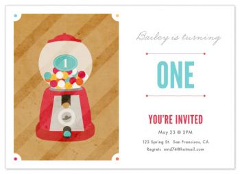 Vintage Gumball Machine Party Invitations