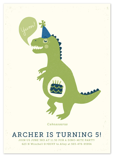 party invitations - Cakeasaurus by Pistols