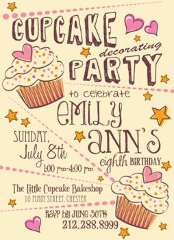 Cupcake Party Party Invitations