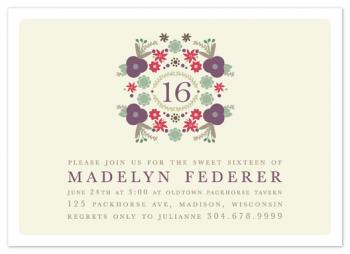 Floral Sixteen Party Invitations