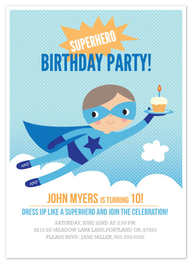 party invitations - Super Birthday Boy by Tara Lilly Studio