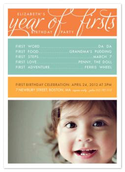 A Year of Firsts Party Invitations