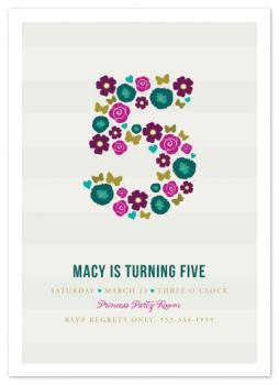 Pretty Little Five Party Invitations