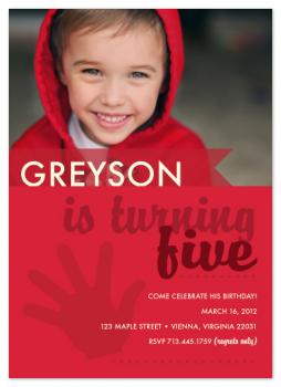 Boy Turning Five Party Invitations