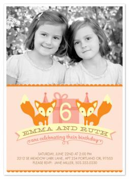 Twin Foxes Party Invitations