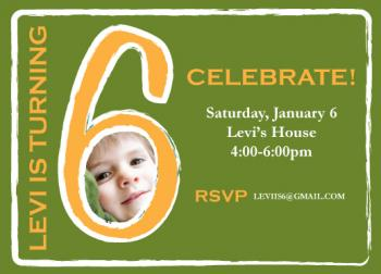 Green and Gold Party Time Party Invitations