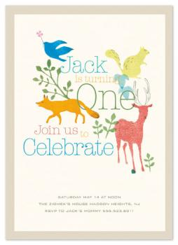 Whimsical First Birthday Invitation Party Invitations