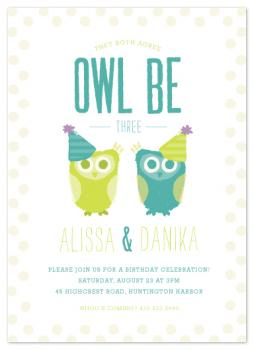 twin owls Party Invitations